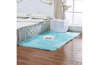 Super Soft Faux Sheepskin Fur Area Rugs Bedroom Floor Carpet Light Blue 100*100