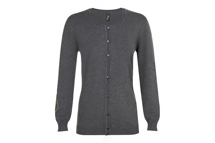 SOLS Womens/Ladies Griffith V Neck Long Sleeve Cardigan (Charcoal Marl) (M)