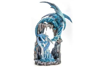Two Blue Dragons in Icy Cave Figurine