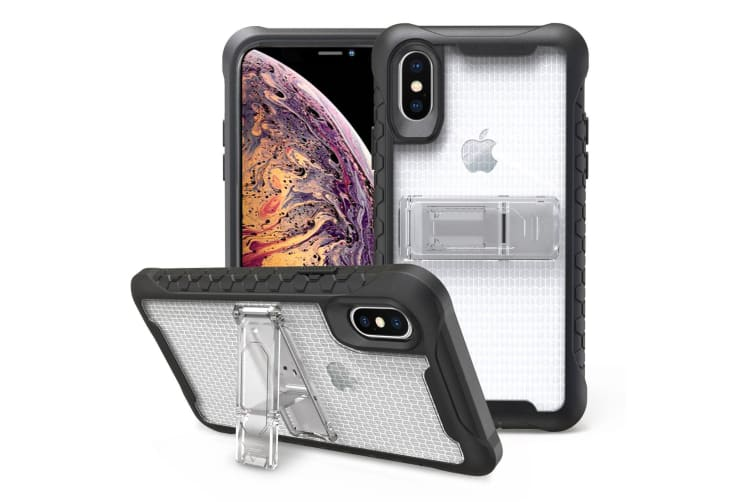Transparent Honeycomb For iPhone XS MAX Case Armour Phone Cover KickStand