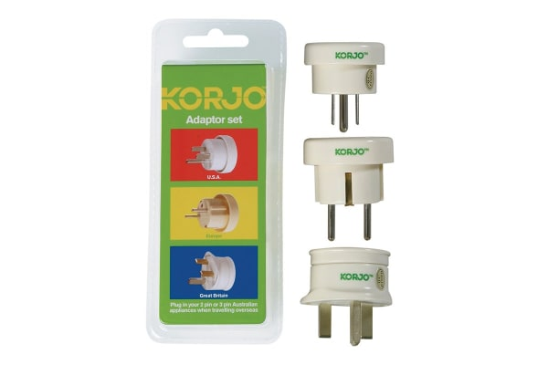 Korjo Set of 3 Travel Adapters (UK/USA/Europe)
