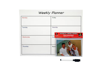 Scribbles Stationery Magnetic Weekly Planner with 2 Magnetic Photo Frames