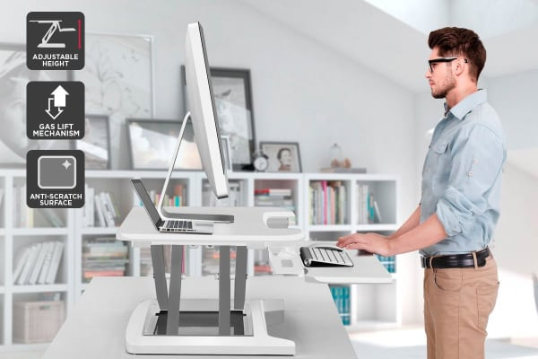 Ergolux Pro Height Adjustable Sit Stand Desk Riser (Medium, White)