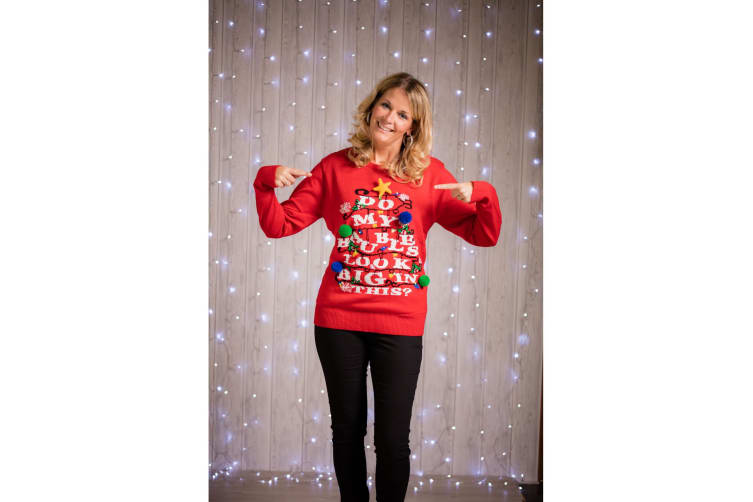 Christmas Shop Adults Do My Baubles Look Big In This? Light Up Jumper (Red) (XS)