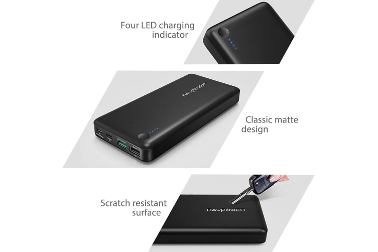 RAVPower 20100mAh QC3.0 Type C USB External Battery Power Bank Portable Charger