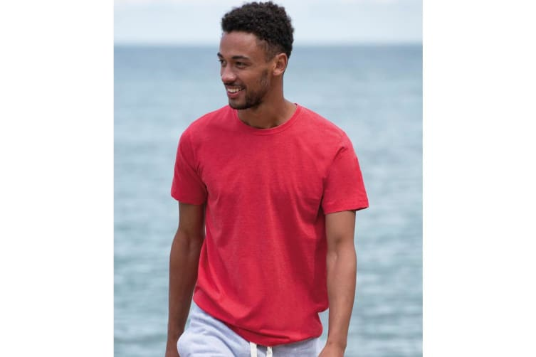 AWDis Mens Washed T Shirt (Washed Fire Red) (3 Extra Large)