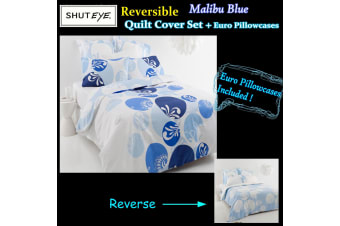 Malibu Blue Quilt Cover Set + Euro Pillowcases by Shuteye