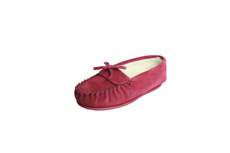 Eastern Counties Leather Womens/Ladies Edie Wool-blend Lined Moccasins (Crimson) (9 UK)