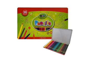 36 Colour Pencils Set Art Supplies Metal Tin Case Colour Sketch