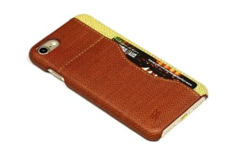 For iPhone 8 7 Case Stylish Woven Pattern Durable Protective Leather Cover Brown