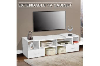 TV Stand Home Entertainment Unit 175CM Corner Cabinet Adjustable Lowline Drawer - White