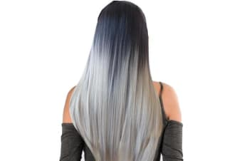 "Two Tone Ombre High Grade Black Silver Hair 17Piece 16Clips 22"" Hair Extension"