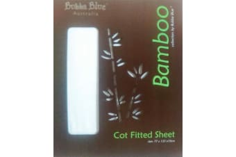 Bubba Blue White Bamboo Cot Fitted Sheet