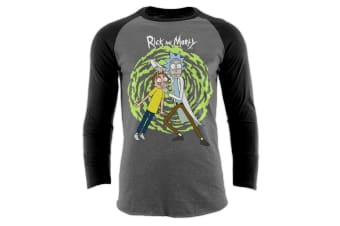 Rick And Morty Adults Unisex Adults Spiral Baseball Shirt (Black/Grey) (M)