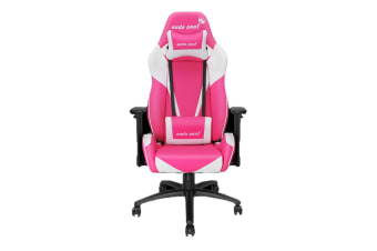 Anda Seat AD7-02 Gaming Chair with 3D Armrest, 60mm Casters, Premium Black Aluminium Feet -Pink/White