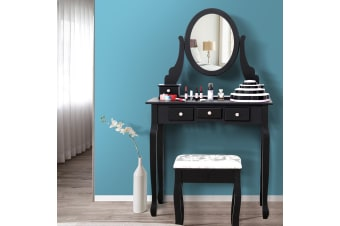 Luxury Dressing Table&Stool w/ Mirror Drawer Jewellery Cabinet Makeup Organiser  -  1 Mirror+5 Drawer in Black