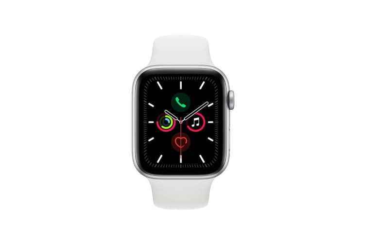 Apple Watch Series 5 (Silver Aluminum, 44mm, White Sport Band, GPS Only)