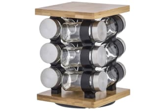 Davis & Waddell Romano 12pc Spice Rotary Jar Rack Bamboo Glass Kitchen Storage
