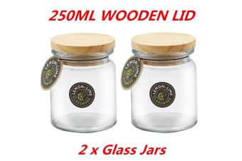 2 x 250ml Round Glass Jars Food Storage Jar Canister Container Wooden Lid Kitchen