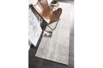 Amelia Bone Ivory & Grey Cable Knit Durable Runner Rug 400x80cm