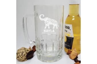 Personalised Engraved Glass Beer Stein (F)