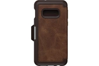 Otterbox Galaxy S10e Strada Series Folio Case Premium Leather Cash or Card Slot Cover for Samsung - Espresso Brown