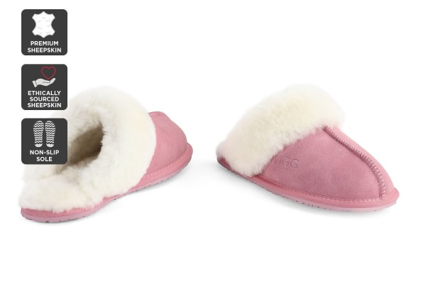 Outback Ugg Slippers - Premium Sheepskin (Pink, 9M / 10W US)
