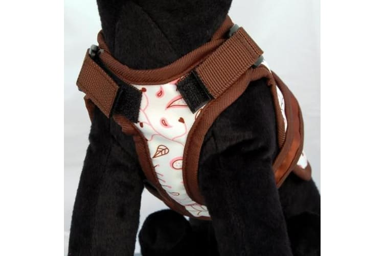 26 Bars & a Band Floral Fling Avant Garde Dog Harness (White/Brown) (XS)