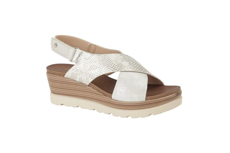 Cipriata Womens/Ladies Fiore Crossover High Wedge Sandals (Silver) (7 UK)