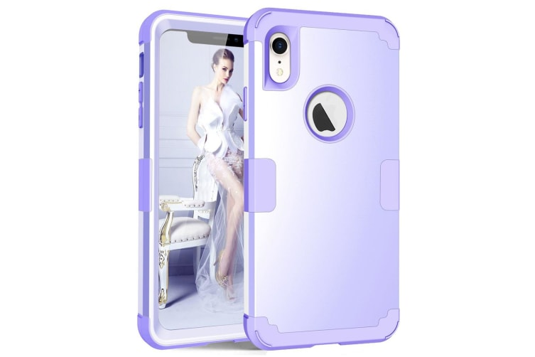For iPhone XR Case Light Purple Dropproof PC Silicone Protective Back Cover