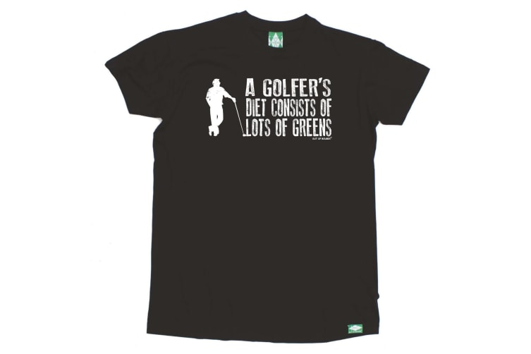 Out Of Bounds Golf Tee - A Golfers Diet Consists Greens - (3X-Large Black Mens T Shirt)