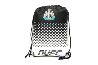 Newcastle United FC Official Fade Football Crest Drawstring Sports/Gym Bag (Black/White)