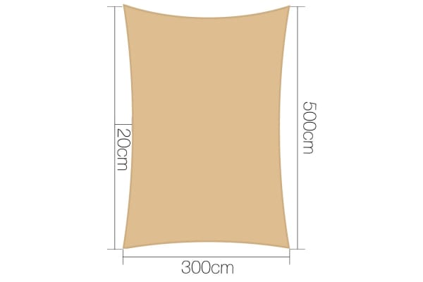 Heavy Duty Rectangle Shade Sail Canopy 3x5m (Sand/Beige)