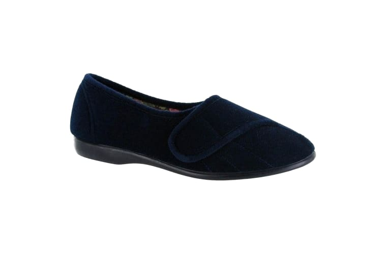 GBS Womens/Ladies Audrey Touch Fasten Slippers (Navy) (8 UK)