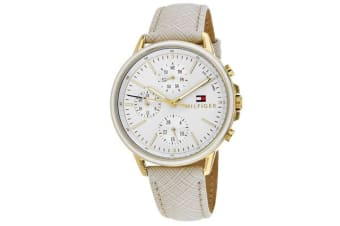 Tommy Hilfiger Men's Sport Watch (Silver Dial, Leather Strap)