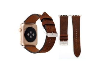 For Apple Watch Series 4 3 2 1 Coffee Perforated Genuine Leather Strap 44mm 42mm