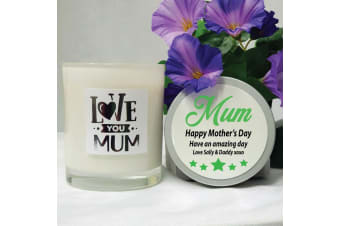 Love You Mum Scented Soy Candle 45hrs Personalised Lid