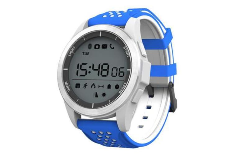 "Bluetooth V4.0 Smart Watch 1.1"" LCD Calorie Count Pedometer IP68 Blue White"