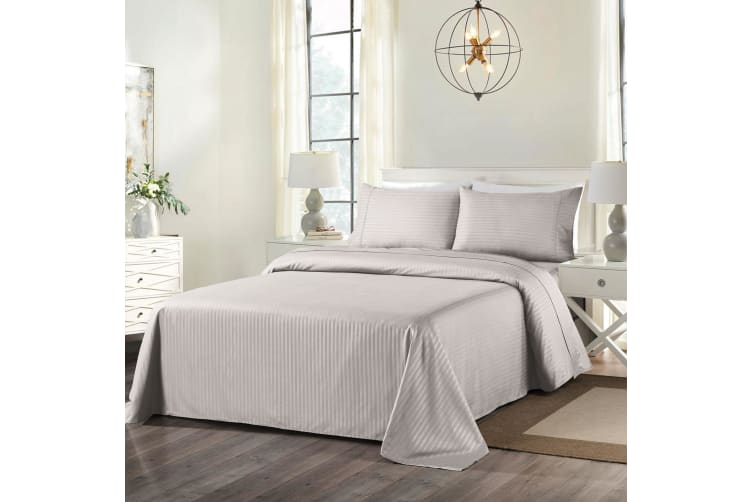 Royal Comfort Cooling Bamboo Blend Sheet Set Striped 1000 Thread Count Pure Soft - Double - Silver Grey