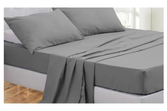 4 Piece Bed Sheet Set,Flat,Fitted,Pillowcases DARK GREY Queen