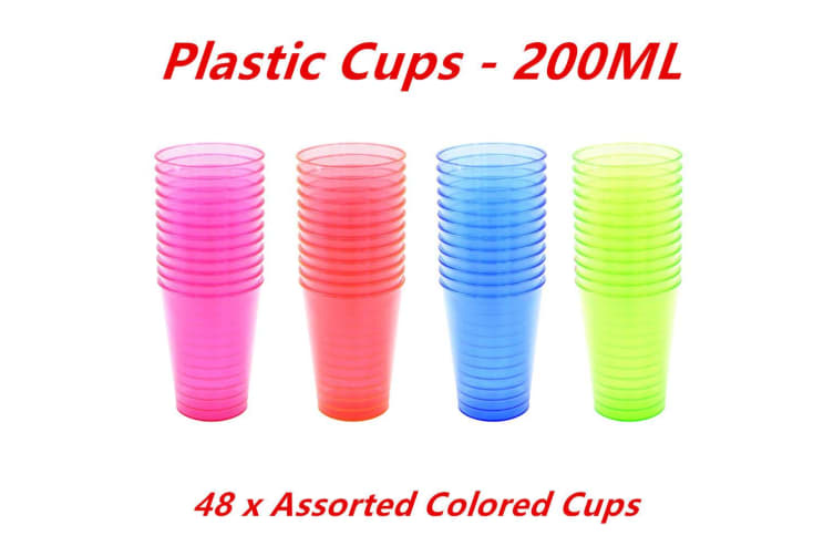 200ML Disposable Plastic Colored Cups Colour Cold Drink Party Cups Tumblers