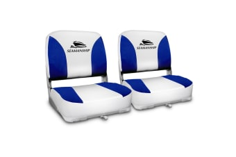Seamanship Set of 2 Swivel Folding Boat Seats (White/Blue)
