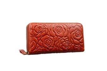 Womens Leather Wallets Long Zippered Around Handbag Card Case Holder Money Clip Wallet Coffee