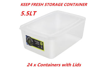 24 x 5.5L Rectangle Stack-able Plastic Food Storage Container Box Lid BPA Free