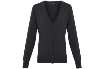 Premier Womens/Ladies Button Through Long Sleeve V-neck Knitted Cardigan (Charcoal) (24)
