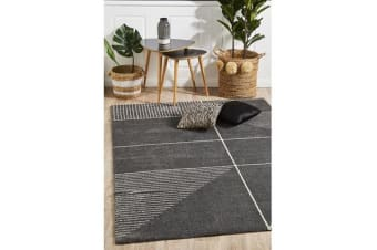 Carter Charcoal & White Super Soft Contemporary Rug 340x240cm