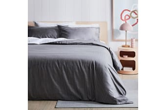 Canningvale 1000TC Quilt Cover Set - King Bed - Palazzo Linea  French Grey with Crisp White Stripe