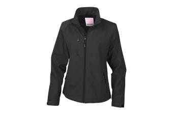 Result Ladies/Womens La Femme® 2 Layer Base Softshell Breathable Wind Resistant Jacket (Black) (L)