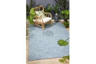 Wyatt Blue Geometric Coastal Runner Rug 300x80cm