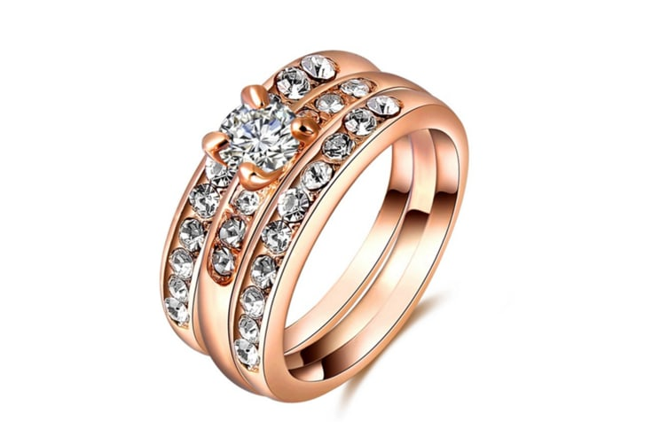 Crystal Diamond Rose Gold Plated Jewelry Rings 6